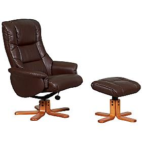 Almond Leather Recliner Brown