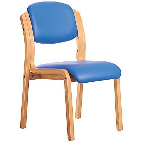 Lisbon Wooden Frame Vinyl Stacking Chair