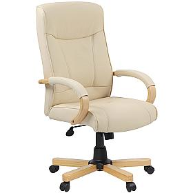 Farnham Soft Touch Cream Leather Manager Chair