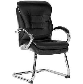Goliath Black Leather Faced Visitor Chair