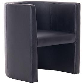 Cardiff Bonded Black Leather Tub Chair