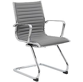 Dura Grey Leather Visitor Chair