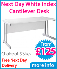 Next Day White Index Cantilever Desk
