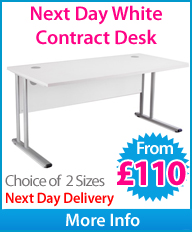 Next Day White Contract Cantilever Desk