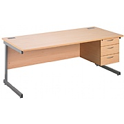 Next Day Eco Cantilever Rectangular Desks With Single Fixed Pedestal