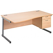 Next Day Eco Cantilever Wave Desks With Single Fixed Pedestal