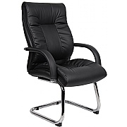 Derby High Back Executive Leather Faced Visitor Chair