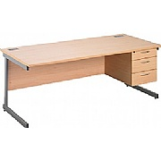 Eco Cantilever Rectangular Desks With Single Fixed Pedestal