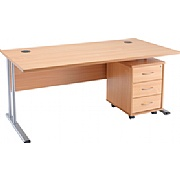 Next Day Contract Rectangular Desk With Mobile Pedestal