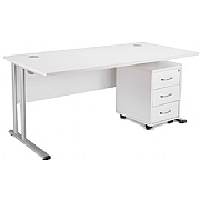 Next Day White Contract Rectangular Desk With Mobi
