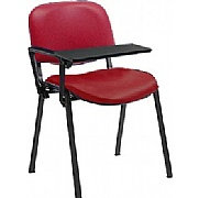 Fleet Vinyl Black Frame Visitor chair with Writing Tablet (Pack of 4 Chairs)