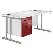 Next Day Prime Cantilever Rectangular Desks With Single Fixed Pedestal